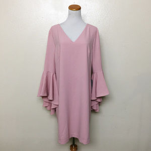 Eliza J Bell Sleeve V-Neck Shift Dress 14 Pink